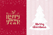 Happy New Year And Merry Christmas Calligraphic Logo Letterings As Greeting Card Center Spread - Beige Red And White On Similar Rough Paper Background - Hand Drawn Retro Style Design