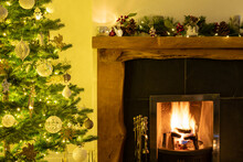 Christmas Tree And Decoration, Open Fire