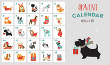 Christmas Advent Calendar With Dogs. Funny Xmas Poster With Puppies, Dogs Wearing Winter Clothes, Christmas Accessories