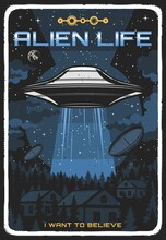Retro Poster With Ufo Illuminate Houses At Night. Vector Alien Saucer In Starry Sky Explore Human Life On Earth. Extraterrestrial Comer From Outer Space Grunge Vintage Card, Cosmos, Stars And Planets
