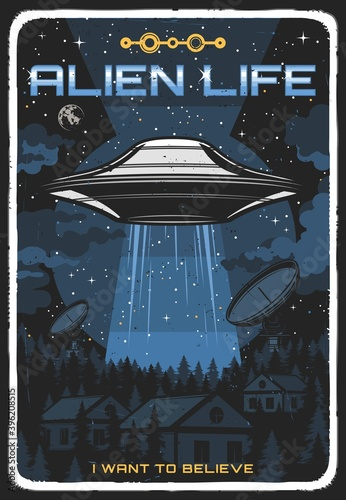 Canvas Retro poster with ufo illuminate houses at night