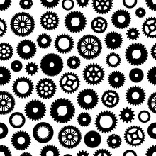 Gear Or Cog Wheels Vector Seamless Pattern Background With Machine, Clock, Engine, Watch And Bike Parts. Engineering And Machinery Technology, Steampunk And Mechanics Industry Cogwheels Backdrop