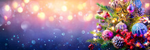 Christmas Tree And Baubles On Abstract Defocused Background