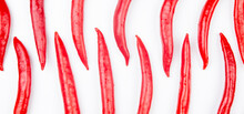 Red Hot Chili Peppers Over White Background. Vitamin Vegetable Food