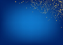 Yellow Confetti Christmas Vector Blue Background.