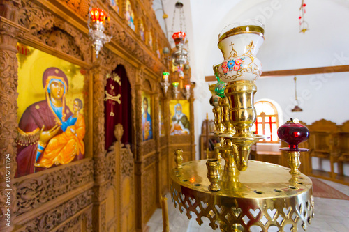 Interior of orthodox church with religious icons Fototapet