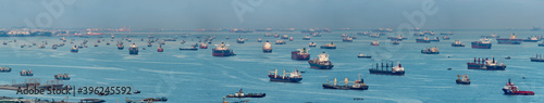 Wide panorama image of Container Ships and tankers anchored at the Singapore strait Wallpaper Mural