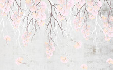 Branches With Delicate Pink Flowers Hang From Above On A Gray Wall
