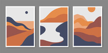 Vector Set Of Minimalist Mountain Landscapes, Cover Design, Posters, Abstract Art, Cards. Mountain Layout Design, Abstract Geometric Landscape Banners With Minimalist Shapes And Curved Lines