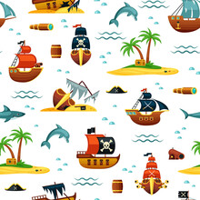 Pirate Ships And Treasures Seamless Pattern. Mountains Of Gold From Wrecked Ships And Green Palms Island With Chest Blue Dolphins Corsair Frigates Red Sails And Black Dead Head. Cartoon Game Vector.