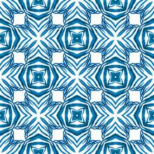 Mosaic Seamless Pattern. Blue Fresh Boho Chic