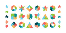 Puzzle. Jigsaw Pieces Various Geometrical Forms Round And Square Puzzle Parts Vector Collection. Illustration Jigsaw Puzzle Game, Teamwork Concept