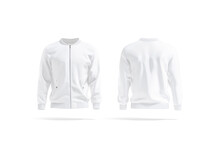 Blank White Bomber Jacket Mockup, Front And Back View