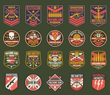 Military Chevrons Vector Icons, Army Stripes For Sniper Squad, Infantry Special Forces Division. Machine Gun, Shooters, Motorized Battalion, Isolated Army Insignia With Weapon, Skull Or Swords Set