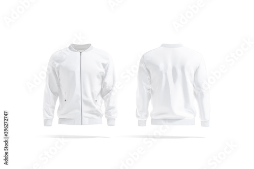 Tela Blank white bomber jacket mockup, front and back view
