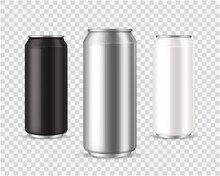 Metallic Cans. Realistic Black, Silver And White Tin Mockup, Front View Marketing Branding Template, Empty Beverage Container For Cold Drinks Vector Realistic Aluminum Can Isolated Set