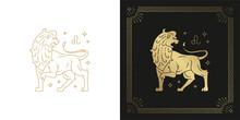 Zodiac Leo Horoscope Sign Line Art Silhouette Design Vector Illustration