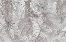 Mural, Wallpaper. Palm Leaves, Graphics. Beige Tone.