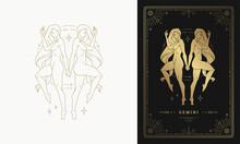 Zodiac Gemini Girl Character Horoscope Sign Line Art Silhouette Design Vector Illustration