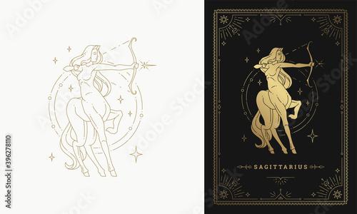 Foto Zodiac sagittarius girl character horoscope sign line art silhouette design vect