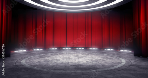 Full shot of a virtual theater background with red curtain, ideal for live shows or music events Fotobehang