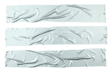 Crumpled Stripes Of Silver Grey Adhesive Tape Isolated On White Background. Torn Pieces Of Grey Sticky Tape. Duck Tape.