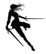A Black Silhouette Of A Graceful Knight Girl With Two Paired Swords, She Froze In A Dynamic Leap To The Side, Her Hair Fluttering Beautifully In The Wind, Her Eyes Glowing In The Dark . 2D