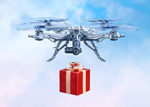 Air UAV Drone Quadcopter Delivering Christmas Gift Box Present Over Blue Sky Background. Robotic Driverless Aircraft Quad Drone Copter Isolated, 3D Model. 2021 New Year, Merry Christmas Greeting Card