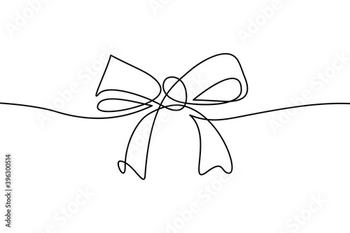 Photo Decorative ribbon bow in continuous line art drawing style