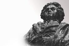 Statue Von Ludwig Van Beethoven Vor Weißem Hintergrund