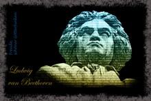 Statue Von Ludwig Van Beethoven Vor Schwarzem Hintergrund Mit Rahmen