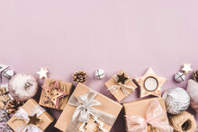 Festive Christmas Background With Gift Boxes And Christmas Decorations