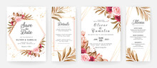 Wedding Invitation Template Set With Burgundy And Brown Roses Flowers And Leaves Decoration. Botanic Card Design Concept