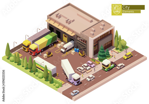 Billede på lærred Vector isometric warehouse building
