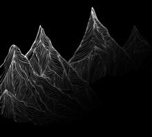 Mountain Peaks. Mountain Landscape Sketch, Pen Drawing.