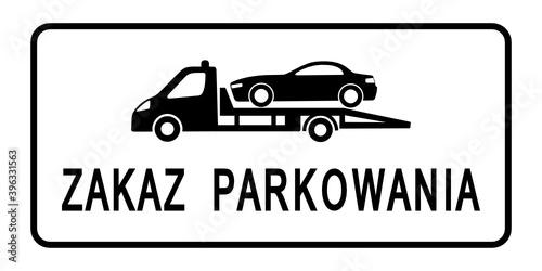 znak zakaz parkowania - fototapety na wymiar