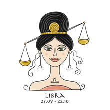 Illustration Of Libra Zodiac Sign. Element Of Air. Beautiful Girl Portrait. One Of 12 Women In Collection For Your Design Of Astrology Calendar, Horoscope, Print.