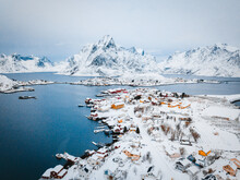 Aerial View Of Town Of Reine, Nordland, Artic Circle, Norway.