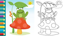 Cartoon Of Frog Sitting On Mushroom Hiding From Blazing Sun Under Leaves At Summer, Coloring Book Or Page