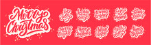 Merry Christmas. Vector Lettering Greeting Phrases Set.