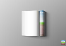 3D Blank White Magazine Pages With Shadow
