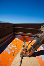 Wide Angle View Of The Inside Of A Wagon Waitimng For A Combine Harvester To Come And Dump Its Load Of Whaet Grain After Being Harvested On A Farm In The Swartland In The Western Cape Of South Africa