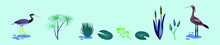 Set Of Marsh Wetland Cartoon Icon Design Template With Various Models. Vector Illustration Isolated On Blue Background