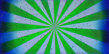 Comic Book Blue And Green Beams Background With Glitter Dots Design, Striped Radial Pop Art Pattern With Darker Blue Borders