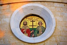 Beautiful Mosaic Of Saint Constantine And Helen Outside A Greek Orthodox Church In Athens, Greece, February 29 2020.
