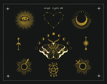 Magic Witch Symbols: Moon, Moth, Eye, Sun, 666, Heart, Occult Witchcraft