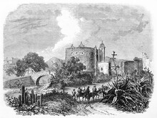 San Antonio Gate, Mexico City, And Horseback People Walking On Warm Path To The City Among Mexican Vegetation. Ancient Grey Tone Etching Style Art By Sabatier, Le Tour Du Monde, 1861
