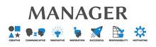 Manager. Banner Mit Icons Und Schlagwörtern. Creative, Communicative, Innovative, Inspiration, Successful, Responsibility, Motivating. Isoliert Freigestellt Vor Weißem Hintergrund.