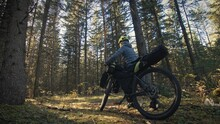 The Woman Travel On Mixed Terrain Cycle Touring With Bike Bikepacking. The Traveler Journey With Bicycle Bags. Magic Forest Park.