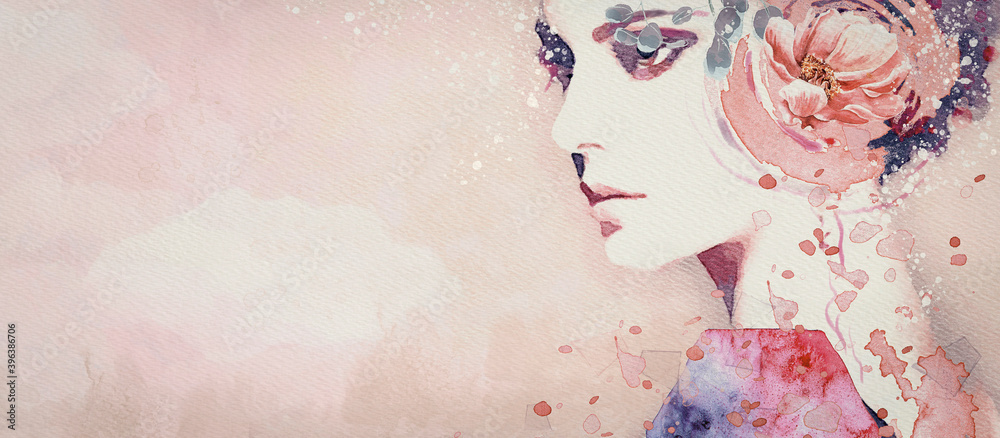 Fototapeta Dream. Watercolor abstract portrait of girl. Fashion background.